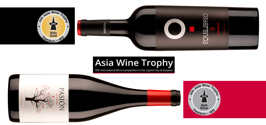 Gold for Equilibrio 9 and Silver for Pasión de Bobal in the Asia Wine Trophy, the most relevant contest in the Asian market